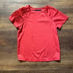 Zara Red Blouse With Ruffly Sleeve Detail, Small